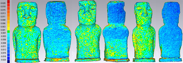 color-based 3D comparison data allows researchers to see where erosion is occuring in Geomagic